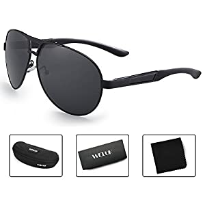 WELUK Oversized Mens Aviator Sunglasses Polarized 63mm Driving UV400 Protection (Black & Grey, 63)