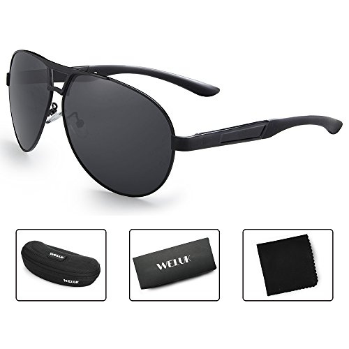 WELUK Oversized Mens Aviator Sunglasses Polarized 63mm Driving UV400 Protection (Black & Grey, - Round Sunglass Face