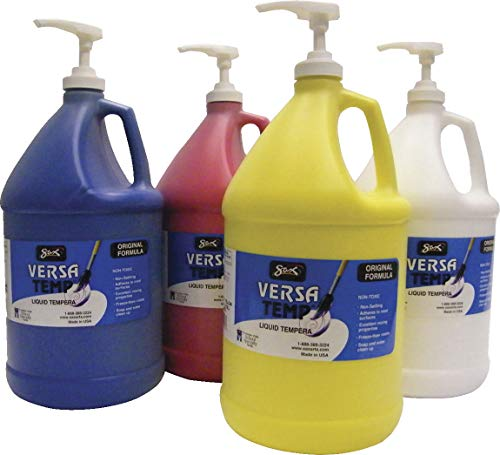 (Sax Versatemp Heavy-Bodied Tempera Paints with Pumps, Assorted Colors, Set of 4 Gallons)