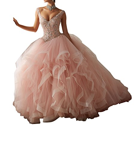 BoShi Women's Rhinestones V neck Beads Tiers Wedding Gowns Quinceanera Dresses 2 US Pink by Unknown