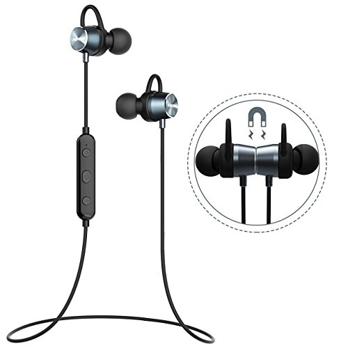 Bluetooth Headphones, [Upgraded] Mpow Judge Magnetic Bluetooth Earbuds, IPX7 Sweatproof Magnetic Stereo Bluetooth Earphones Wireless Sports Earbuds Headset Inline Control with MIC for Running, Jogging, Workout (3 Ear Hooks, 3 Ear-tips and Carrying Case Included) - Grey Silver