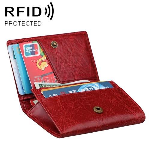 Crazy Horse Genuine Leather Men/'s Wallet Short Card Coin Purse RFID Antimagnetic