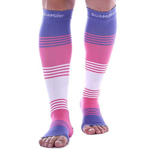pen Toe Compression Sleeve Dress Series 1 Pair 20-30mmHg Strong Support Graduated Sock Pressure Sports Running Recovery Shin Splints Varicose Veins (PinkVioletWhite, Large) ()