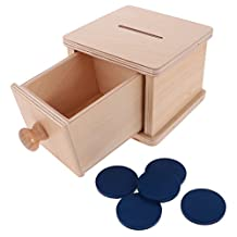 MagiDeal Montessori Sensorial Material Wood Coin Box Piggy Bank Learning Educational Training Baby Kids Toys Gift DIY