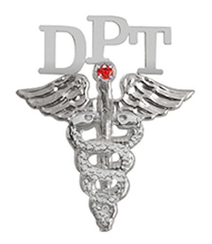 NursingPin Doctor of Physical Therapy DPT Graduation Pin with Ruby in Silver
