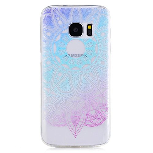 KSHOP Samsung Galaxy S7 TPU Soft Case Transparent TPU Silicone Cover Bumper ShellColorful Pattern Design Clear Crystal Protective Back Bumper Shell-Blue Sunflower
