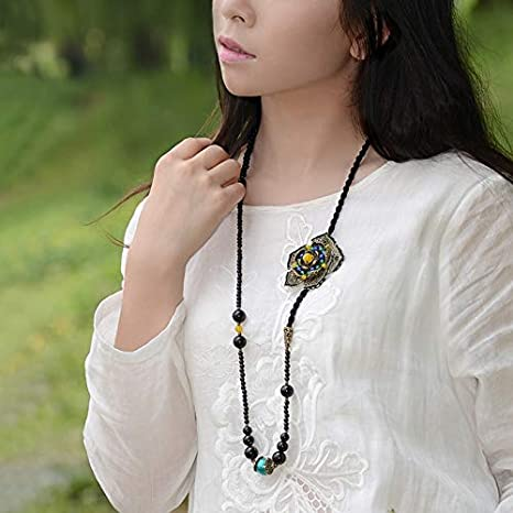 Davitu Classical Black Beads Strand Chain Ethnic Maxi Necklaces for Women Bronze Flower Yellow Green Stone Pendant Vintage Jewelry Metal Color: Bronze, Main Stone Color: Multi Color