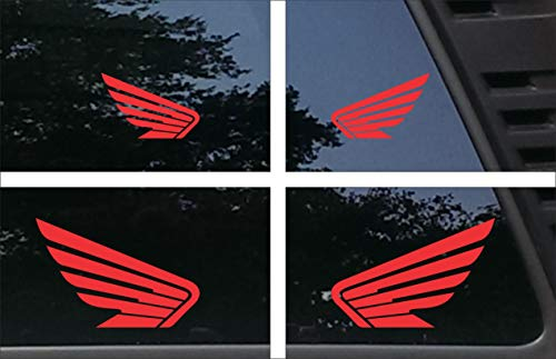 Red Powersport Wing Badges - Set of 4 - Various Sizes - (2) 5