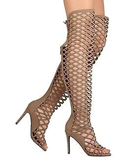 62bb11353b51 Breckelle s Selena42 Womens Thigh High Criss Cross Cut Out Open Toe Dress  Sandals