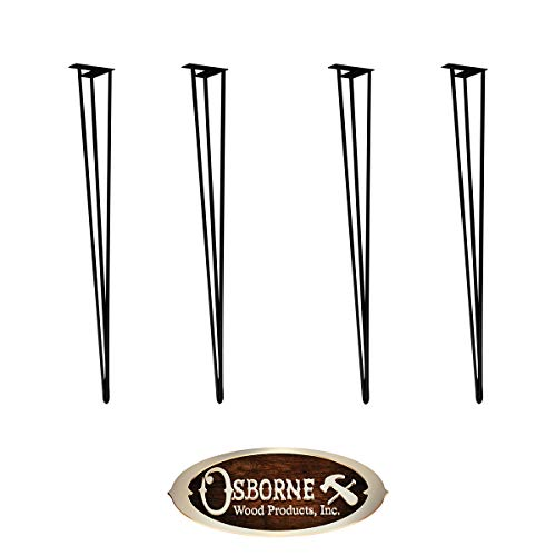 Set of 4 Black Steel Metal Hairpin Legs - Dining Table Height (29