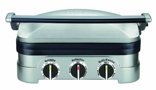 Cuisinart GR-4N 5-in-1 Griddler, Silver, Black Dials - smallkitchenideas.us