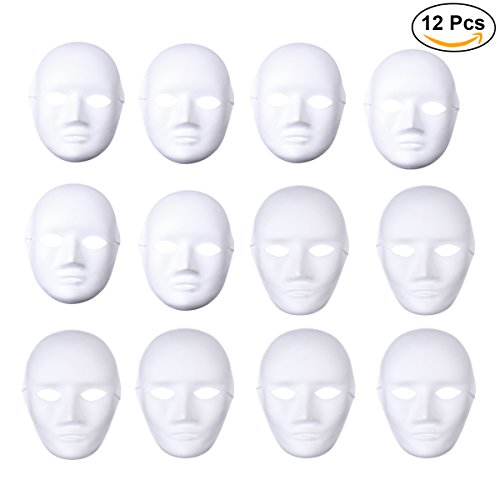 White Mask Halloween (BESTOYARD 12pcs Full Face Mask Halloween Mask White DIY Mask Dance Cosplay Masquerade Party Mask (6pcs Male and 6pcs Female))
