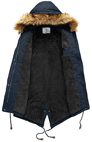 WenVen Women's Mid Length Hooded Joker Jacket Sherpa Lined Parka Jacket(Navy,M)