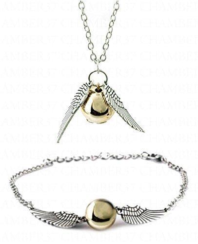 ChAmBer37Halskette und Armband/Fußkettchen Set, silberfarbene Engelsflügel mit goldfarbener Kunstperle, im Retrostil