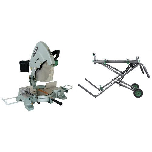 Hitachi 15-Amp 15-Inch Miter Saw with  Fold and Roll Heavy-Duty Miter Saw Stand