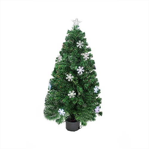 4' Pre-Lit Color Changing Fiber Optic Artificial Christmas Tree with Snowflakes (Fibre Christmas 4ft Tree Optic)