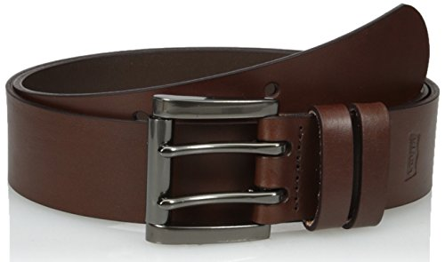 Levi's Men's Work Belt - Heavy Duty Thick Wide Soft Leather Strap with Silver Double Prong Buckle, Brown, -