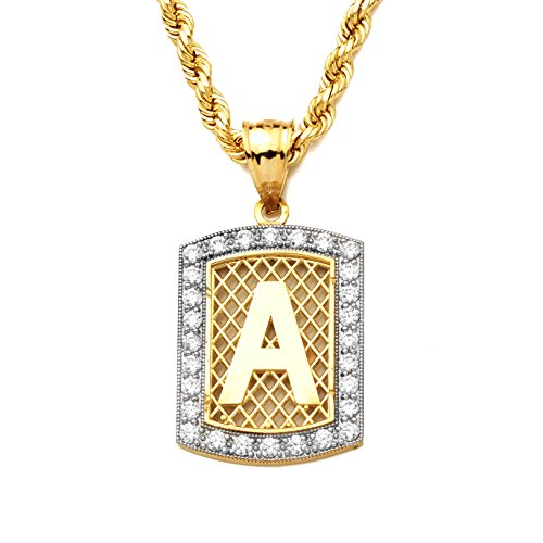LoveBling 10K Yellow Gold Dog Tag Initials Charm Pendant w/CZ Border (Available from A-Z) (A)