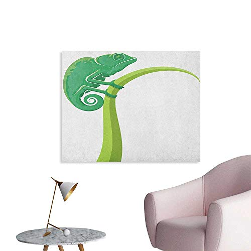 Anzhutwelve Reptile Art Stickers Exotic Grumpy Lizard Holding onto Grass with Curled Tail Jungle Cartoon Camouflage Funny Poster Green White W36 xL24 -