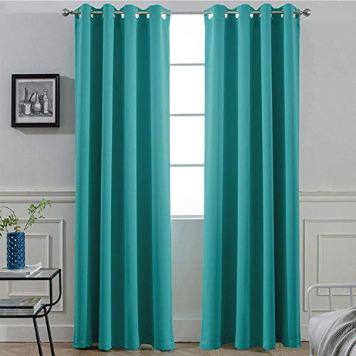 Yakamok Light Blocking Room Darkening Thermal Insulated Blackout Curtains Solid Grommet Top Window Drapes Bedroom, 2 tie Backs Included, 52x84 Inch Turquoise 2 Panels (Velvet Purple Curtains Drapes)