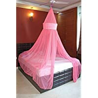 Creative Textiles Pink Stylish Mosquito Net For Double Bed
