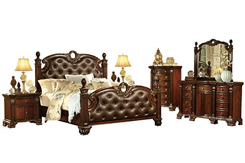 - Chambord French Country 6PC Bedroom Set E King Poster Leather Bed, Dresser, Mirror, 2 Nightstand, Chest in Rich Cherry
