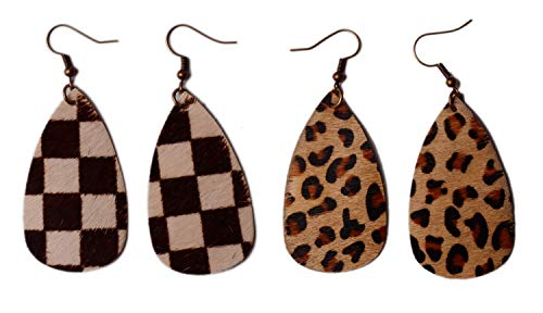 (L&N Rainbery Teardrop Leather Earrings Antique Looking Leopard and Plaid Leather Dangle Earrings 2 Pairs Pack (Leopard)