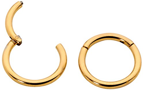 1 Pair Stainless Steel 18G (Thin) Hinged Segment Ring Hoop Sleeper Earrings Body Piercing - 5mm Yellow
