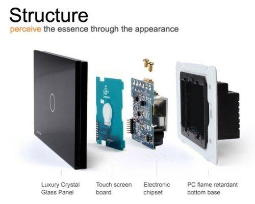 US/AU Standard, Remote Switch, Black Crystal Glass Panel, Wall Light Remote Dimmer Switch, VL-C301DR-82 by NIMTEK (Image #1)