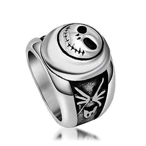 Skull Smiling Face Stainless Steel Ring Gothic & Vintage Biker Look Style Size 6 to 10 (9)
