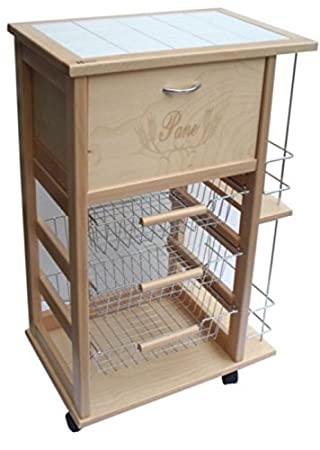 Liberoshopping Fruit Trolley With Natural Wooden Bread And Bottle