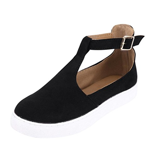 SUKEQ Sneakers, Women Vintage Cutout Ankle Strap Sneaker Round Toe Marry Jane Loafer Casual T Strap Flat Shoes (9 B(M) US, Flock Black) by SUKEQ