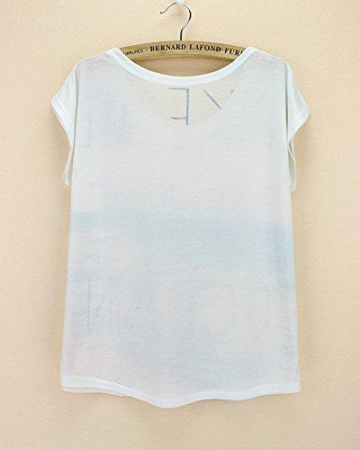shirt T Eté Imprimé Blouse Unique Mer Avec Top Courte Taille Femme Motif Acvip Manche 5vqxEwY