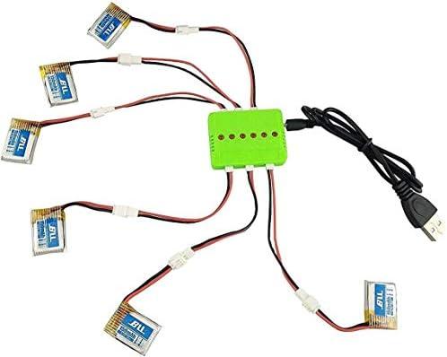 ZYGY 6PCS Amélioré 3.7V 150mAh Batterie avec 6en1 Chargeur et Câble de Conversion pour JJRC H36 E010 NIHUI NH010 RC Quadcopter