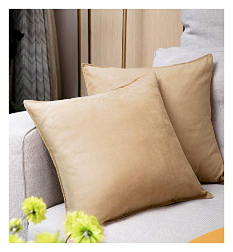 (Zealax 2-Pack Cushion Covers Solid Color Comfortable Faux Suede Decorative Throw Pillow Covers Pillowcases for Sofa Couch Living Room Decor, 18 x 18 inches, Light Camel )