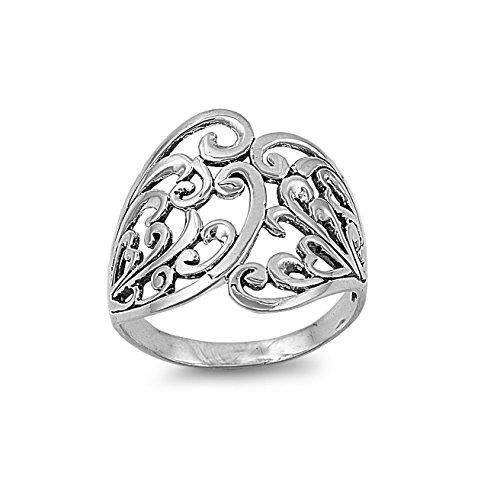 Sterling Silver Flower Filigree Ring Size 6 (Flower Ring Filigree Sterling Silver)