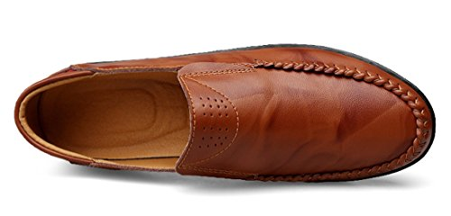 Tda Mens Casual Slip-on In Pelle Penny Loafer Low-top Scarpe Rosso Marrone