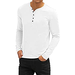 Aiyino Mens Casual V-Neck Button Cuffs Cardigan Long Sleeve T-Shirts