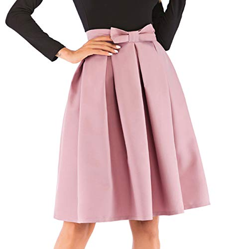 Women's High Waist Knee Length Skirts Pleated Flared Skirts with Bow ()