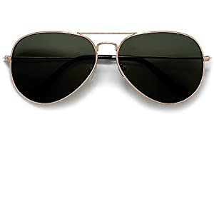Lets Be Cops Police Aviator Style Sunglasses (Gold/G-15 Green)
