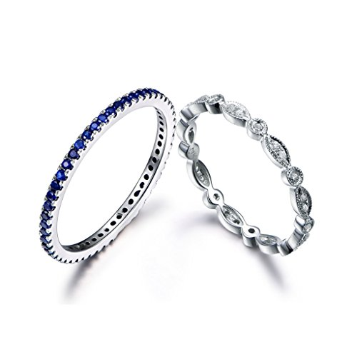 MYRAYGEM-wedding band 14k White Gold Natural Blue Sapphire Diamond Full Eternity Vintage Antique Ring Wedding Stackable Bands ()