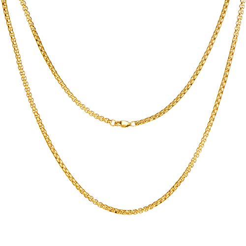 FEEL STYLE 3mm 18K Gold Plated Stainless Steel Rolo Necklace for Men Women Box Cable Chain Jewelry 22 Inch