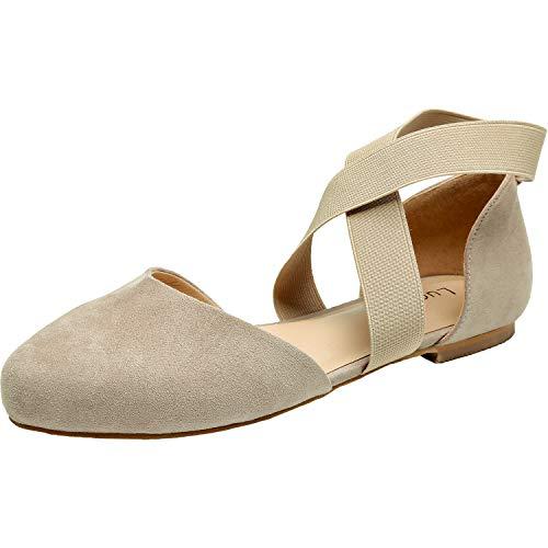Women's Wide Width Flat Sandals - Elastic Cross Strap Pointy Toe Casual Summer Shoes.(181143,Beige,9.5) (Best Walking Shoes For Obese Women)