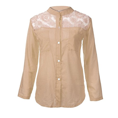 Lace Shirt,Toimoth Women Ladies Solid Long Sleeve Blouse Pullover Tops with Pockets(Beige,XXXXL)