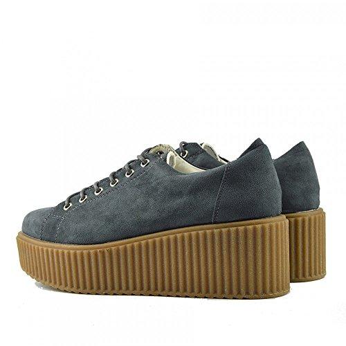 Kick Footwear Damen Chunky Plattform Sole Lace bis Skater Trainer Schuhe Grey - Dino
