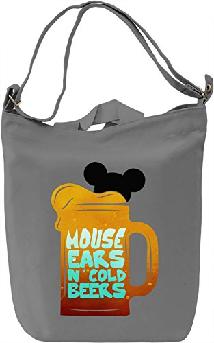Mouse Ears N' Cold Beers Borsa Giornaliera Canvas Canvas Day Bag| 100% Premium Cotton Canvas| DTG Printing|