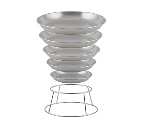 Winco ASFT-12 & SFR4, 75-Ounce Brushed Aluminum Round Serving Seafood Platter Tray with Display Rack Holder (75 oz)