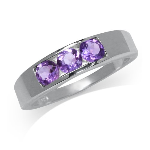 - 3-Stone Natural Amethyst 925 Sterling Silver Band Ring Size 6