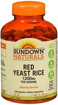 Sundown Naturals Red Yeast Rice 1200 mg per Serving Dietary Supplement Capsules - 240 ct, Pack of 6