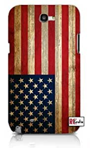 Distressed USA American National Flag Premium Samsung Galaxy S5, S 5 Quality PVC Hard Plastic Cell Case for Samsung Galaxy S5, S 5 - AT&T Sprint Verizon - White Case